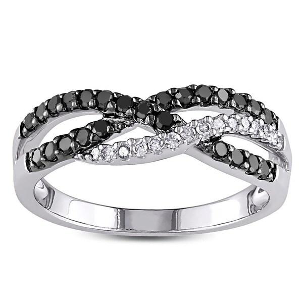 Miadora 10k White Gold 1/3ct TDW Black and White Diamond Ring (G-H, I3)