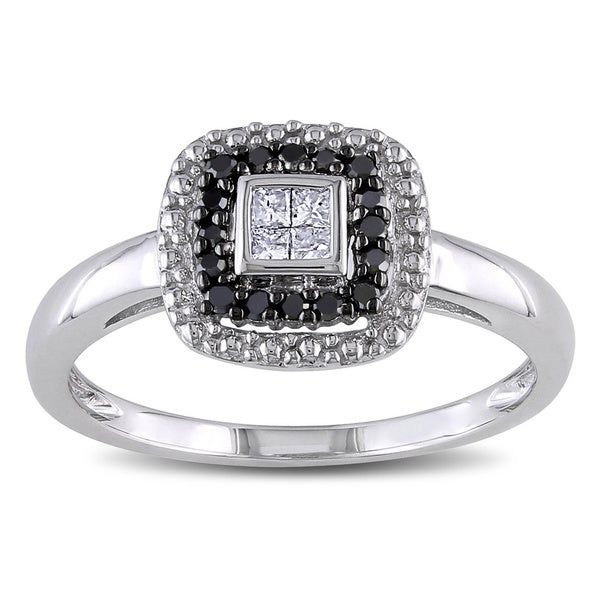 Miadora 10k White Gold 1/6ct TDW White and Black Diamond Halo Ring (G-H, I2-I3)