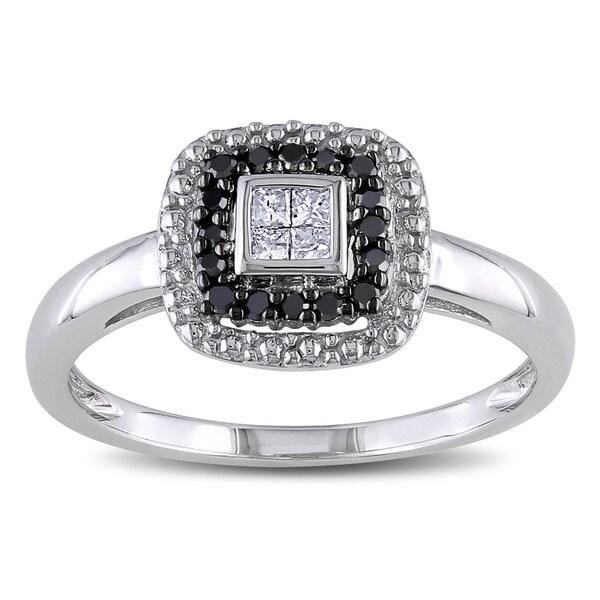 Miadora 10k White Gold 1/6ct TDW White and Black Diamond Halo Ring (G-H, I2-I3)