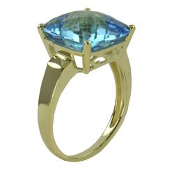 Gems for You 10k Yellow Gold Swiss Blue Topaz Solitaire Ring (Size 7)