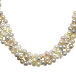 Multi-colored Pastel Freshwater Pearl 4-strand Necklace (6-6.5 mm)
