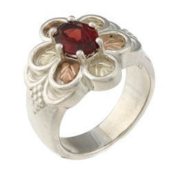 Black Hills Gold and Silver Garnet Flower Ring