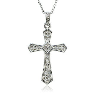 Icz Stonez Sterling Silver Cubic Zirconia Cross Necklace