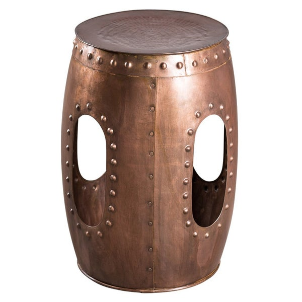 Steel Round Copper-colored Rivet Barrel Stool (India)
