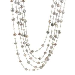 Pearls For You 14k Gold Five-strand Freshwater Pearl Necklace (4-9 mm)