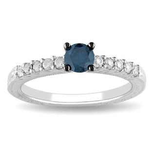 Miadora 14k Gold 1/2ct TDW Blue and White Diamond Ring (G-H, I2-I3)