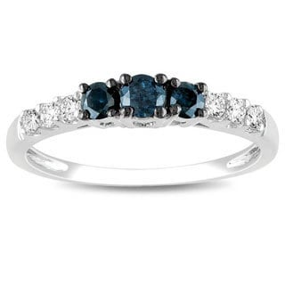 Miadora 14k Gold 1/2ct TDW Blue and White Round-cut Diamond Ring (G-H, I2-I3)