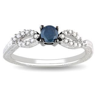Miadora 10k Gold 1/3ct TDW Blue and White Diamond Ring (G-H, I2-I3)