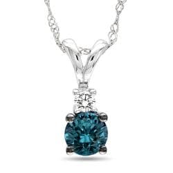 Miadora 14k White Gold 1/2ct TDW Blue and White Diamond Necklace (G-H, I2-I3)