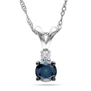 Miadora 14k White Gold 1/2ct TDW Blue and White Diamond Necklace (G-H, I2-I3) with Bonus Earrings