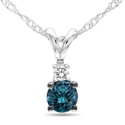 Miadora 10k White Gold 1/4ct TDW Blue and White Diamond Necklace (G-H, I2-I3)