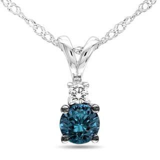 Miadora 10k White Gold 1/4ct TDW Blue and White Diamond Necklace (G-H, I2-I3)