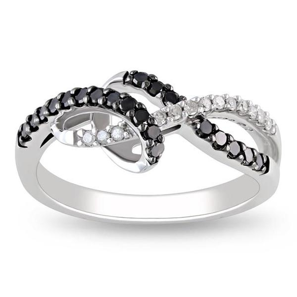 Miadora 10k White Gold 1/4ct TDW Black-and-white Round-cut Diamond Ring (G-H, I2-I3)