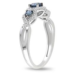 Miadora 14k Gold 1/2ct TDW Blue and White Diamond Halo Ring (G-H, I2-I3)