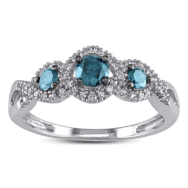 1/2 CT Blue and White Diamond TW 3 Stone Ring 14k White Gold GH I2;I3 Blue Rhodium Plated