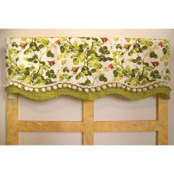 Rose Blossoms Scallop Valance with Fringe