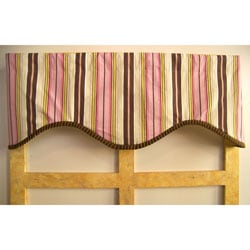 Pink Truffle Stripe Cotton Valance