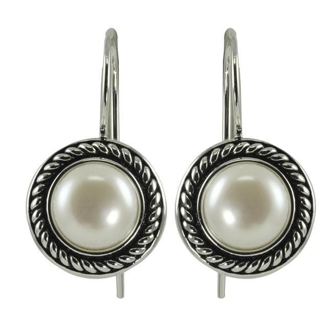 Pearls For You Sterling Silver White Freshwater Pearl Earrings (7.5-8 mm)