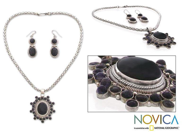 Sterling Silver 'New Star' Onyx Jewelry Set (India)