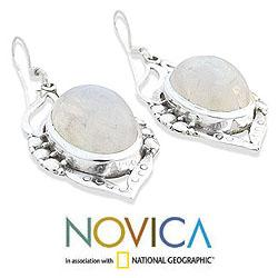 Sterling Silver 'Passion Leaf' Moonstone Dangle Earrings (India)