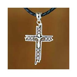 Sterling Silver 'Contemporary Cross' Leather Cord Necklace (Indonesia)
