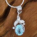 Sterling Silver 'Dazzling Dew' Blue Topaz Necklace (India)