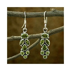 Sterling Silver 'Summer Allure' Peridot Dangle Earrings (India)