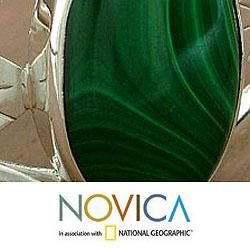 Sterling Silver 'Ivy' Malachite Cuff Bracelet (India)