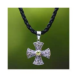 Sterling Silver 'Light of Faith' Peridot Necklace (Indonesia)