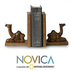 Set of 2 Wood 'Sahara Camel' Bookends (Ghana)