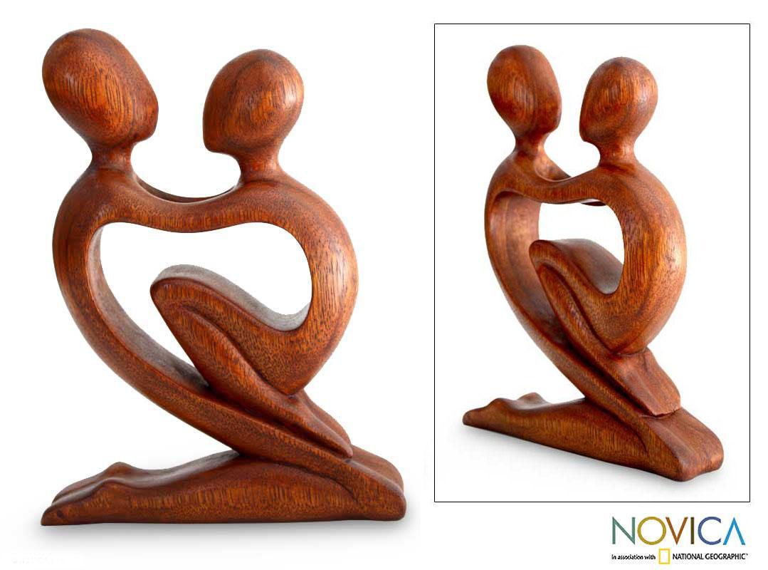 Wood 'True Love' Sculpture (Indonesia)