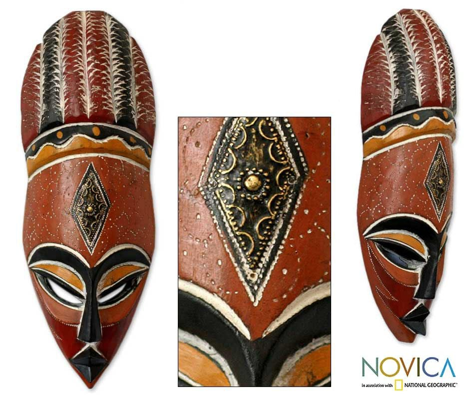Handcrafted Wood 'God's Gifts' African Mask (Ghana)