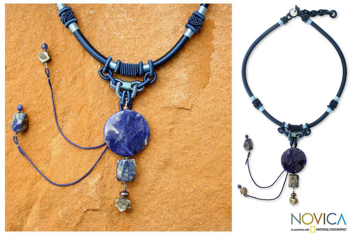 Nylon 'Wild Blue' Lapis lazuli and Pearl Necklace (8mm) (Thailand)