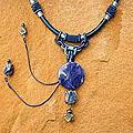 Nylon 'Wild Blue' Lapis lazuli and Pearl Necklace (8mm) (Thailand)