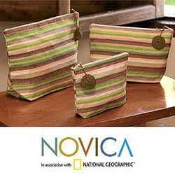 Set of 3 Cotton 'Strawberry Lime' Cosmetic Bags (Guatemala)