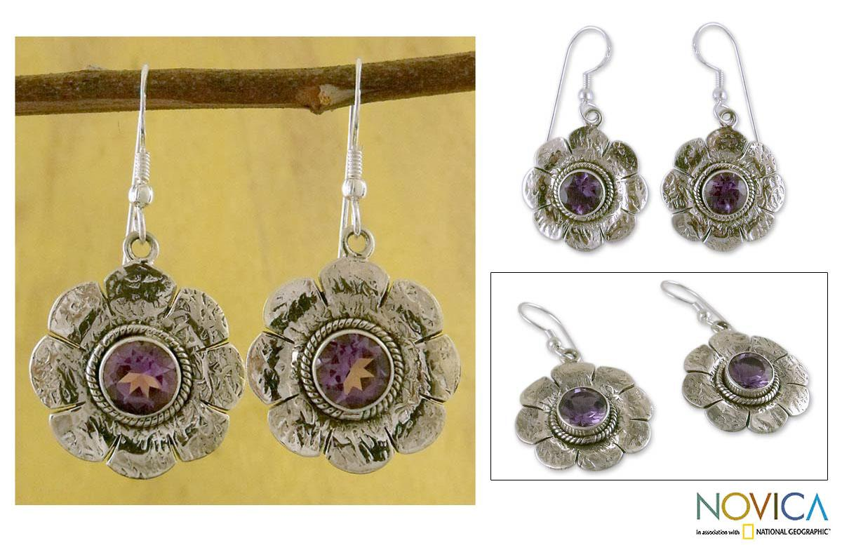 Sterling Silver 'Precious Petals' Amethyst Floral Earrings (India)
