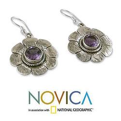 Sterling Silver 'Precious Petals' Amethyst Floral Earrings (India)