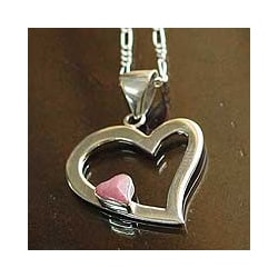 Sterling Silver 'Secret Love' Rhodonite Heart Necklace (Peru)