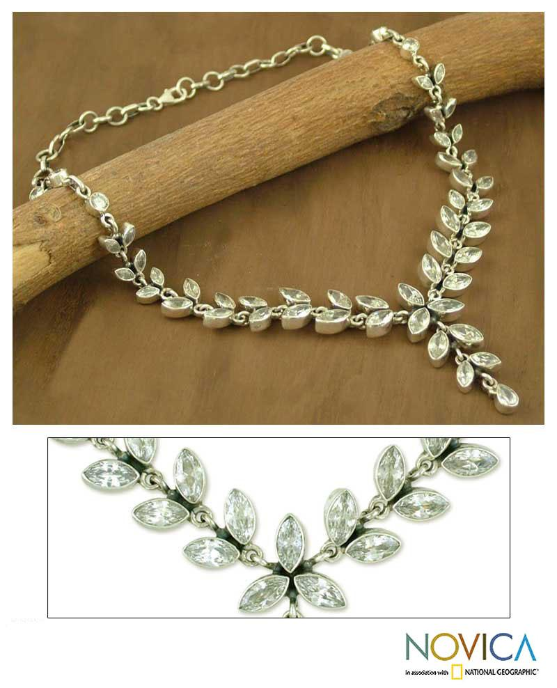 Sterling Silver 'White Daffodils' Quartz Y Necklace (India)
