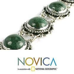Sterling Silver 'Antigua Sun' Jade Link Bracelet (Guatemala)