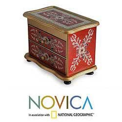 Reverse-painted Glass 'Scarlet Splendor' Jewelry Box (Peru)