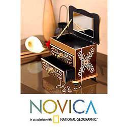 Reverse-painted Glass 'Splendor' Jewelry Box (Peru)