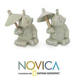 Set of 2 Celadon Ceramic 'Chiang Mai Elephants' Figurines (Thailand)