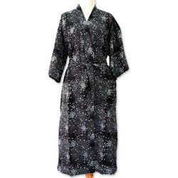 Men's Cotton 'Black Cosmos' Batik Robe (Indonesia)