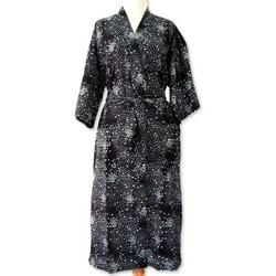 Men's Cotton 'Black Cosmos' Batik Robe (Indonesia)