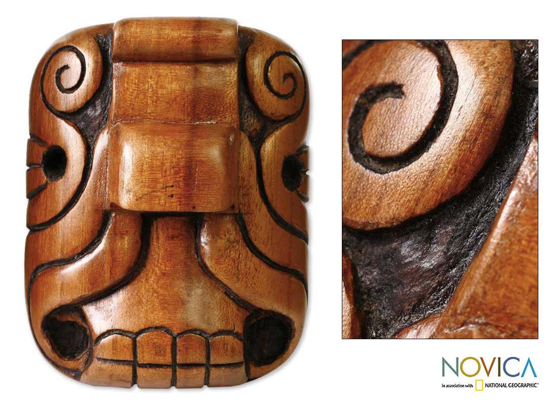 Handcrafted Cedar Wood 'Mystical Jaguar' Mask (El Salvador)