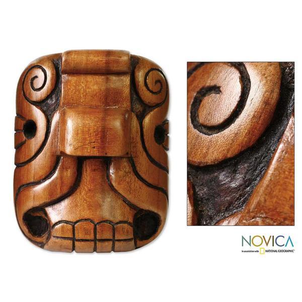 Handmade Cedar Wood 'Mystical Jaguar' Mask (El Salvador) 8046465