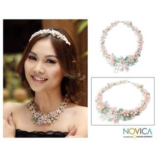 Pearl 'Spring Garland' Multi-gemstone Flower Necklace (Thailand)