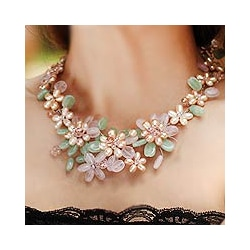 Pearl 'Spring Garland' Multi-gemstone Flower Necklace (Thailand)