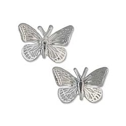 Sterling Silver 'Monarch Butterfly' Button 15mm Earrings (Mexico)